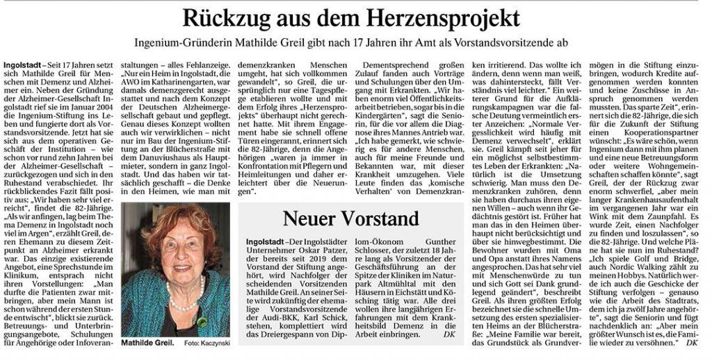 Rückzug aus dem Herzensprojekt, Donaukurier 12.04.2021